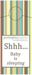 shhh baby is sleeping door hanger