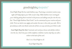 Good Night Sleep Site routine bedtime flashcards