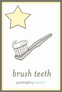 starting a routine brush teeth cards